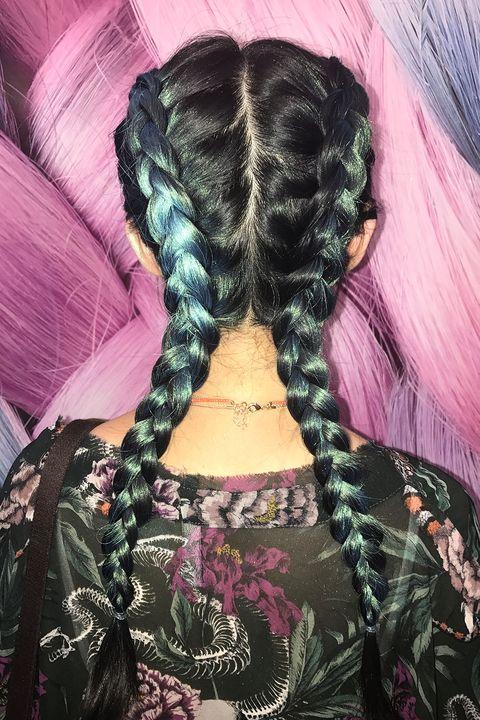 Hair, Hairstyle, Long hair, Pink, Hair coloring, Braid, Purple, Black hair, French braid, Human,