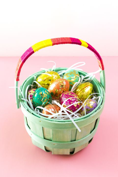 color block easter basket filled with eggs
