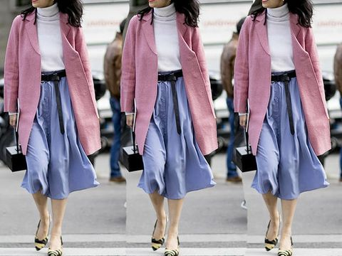Clothing, Street fashion, Pink, Coat, Fashion, Outerwear, Footwear, Cardigan, Dress, Neck,