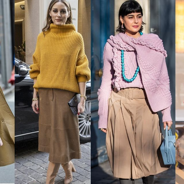 milan, italy   september 24 leonie hanne seen wearing pink turtleneck knit, khaki skirt, pink fendi bag, micro bag, boots during the milan women's fashion week on september 24, 2020 in milan, italy photo by christian vieriggetty images