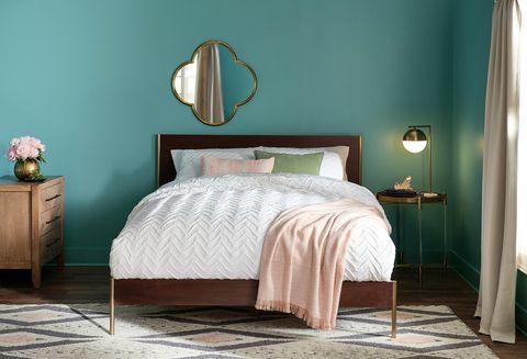 Bedroom, Furniture, Bed, Room, Bed frame, Bed sheet, Bedding, Nightstand, Turquoise, Interior design,