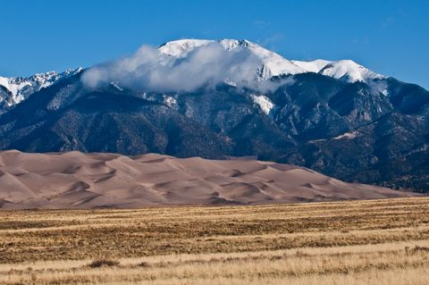Colorado, Great Sand Dunes National Park and Preserve, View of the Dunes, Framed by the Snow-capped Sangre De Cristo Mountains
