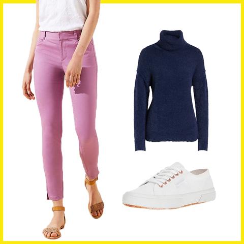 Clothing, White, sweatpant, Jeans, Footwear, Leggings, Active pants, Pink, Yellow, Violet,