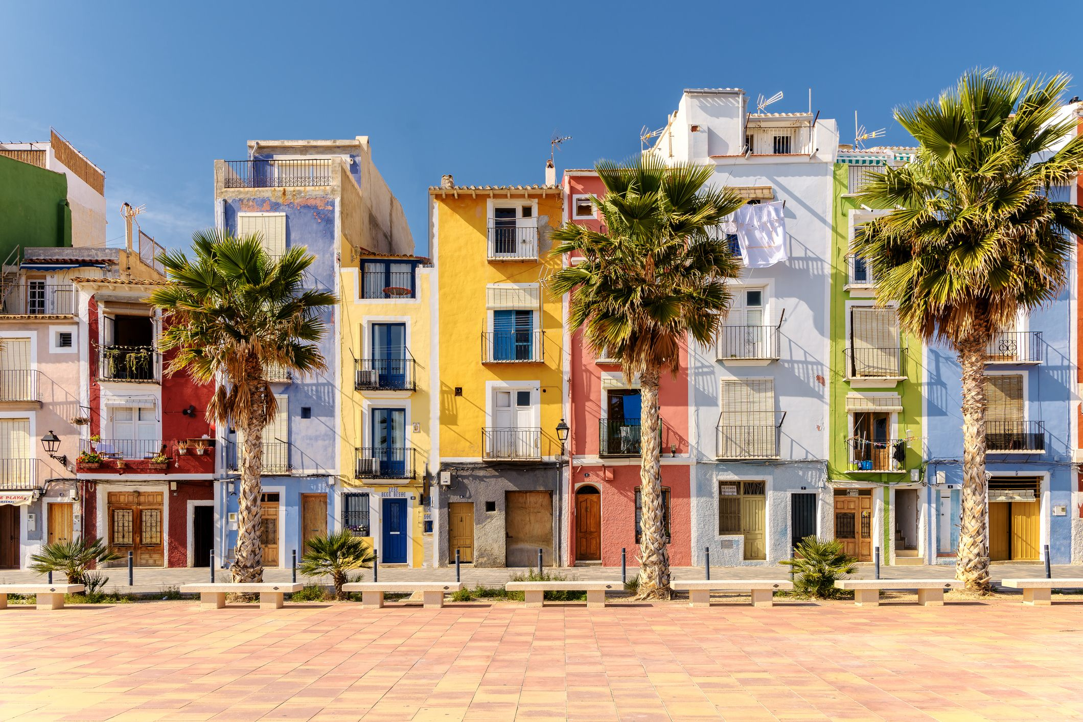 Colorful beach homes in Mediterranean Villajoyosa, Southern Spain