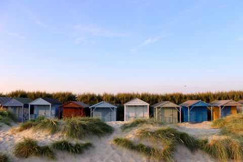colorful beach huts, west wittering, chichester, west sussex, england, uk