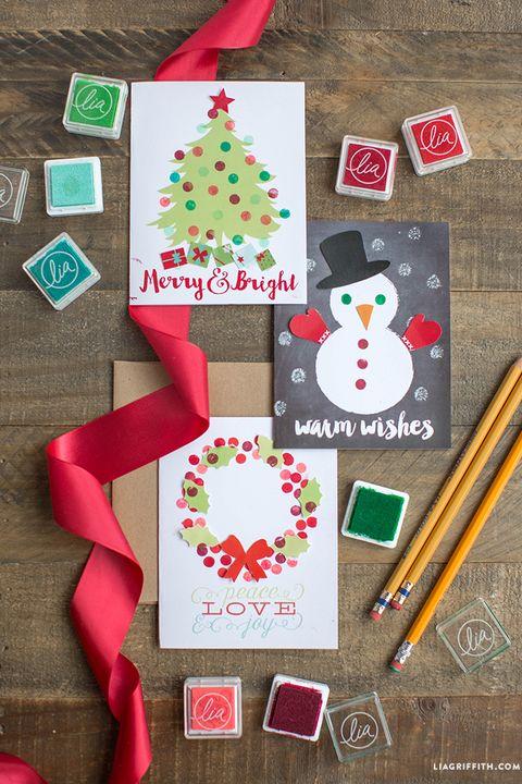 polka dot christmas cards diy christmas cards