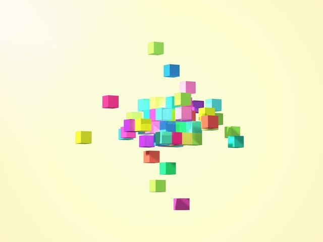 colorful cubes forming geometric shapes