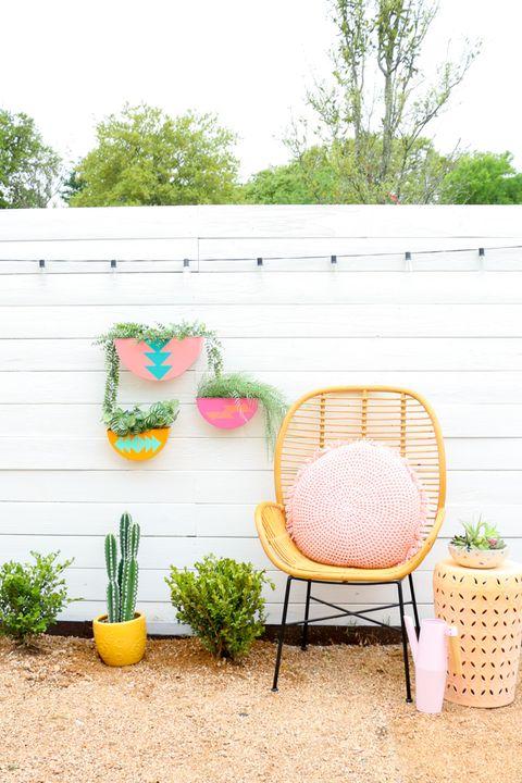 colorful outdoor wall diy planters