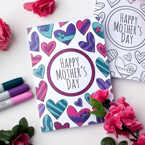 colorful printable mothers day card