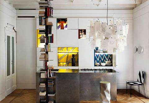Room, Interior design, Floor, Ceiling, Wall, Shelving, Interior design, Light fixture, Ladder, Paint,