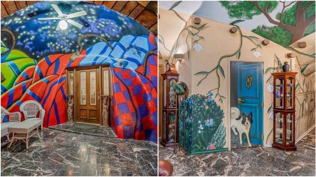 underground house with colorful murals painted on its walls and ceilings