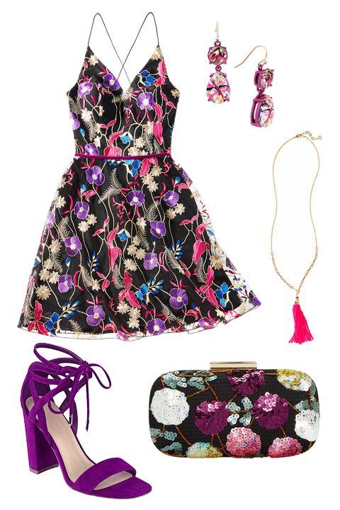 Clothing, Dress, Purple, Day dress, Pink, Fashion, Fashion illustration, Fashion design, Cocktail dress, Costume design,