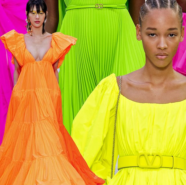 Clothing, Yellow, Pink, Fashion, Dress, Orange, Haute couture, Fashion design, Magenta, Gown,