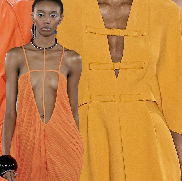 Yellow, Orange, Clothing, Fashion, Fashion design, Outerwear, Peach, Dress, Jacket, Style,