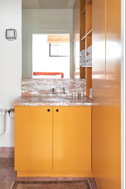 pink and orange bathroom