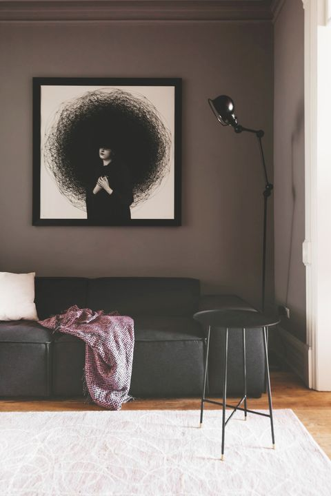 contemporary black and purple living room