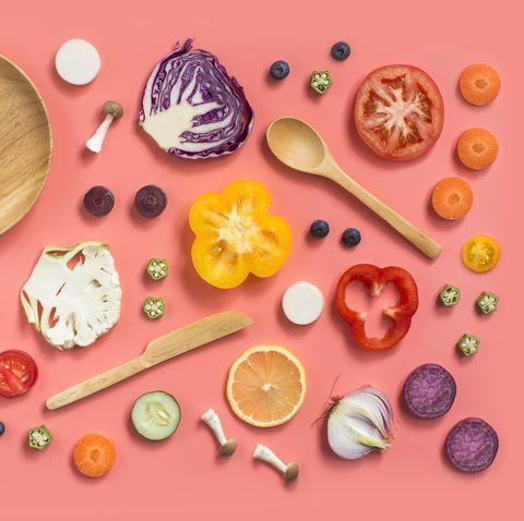 Colourful conceptual vegan food still life.