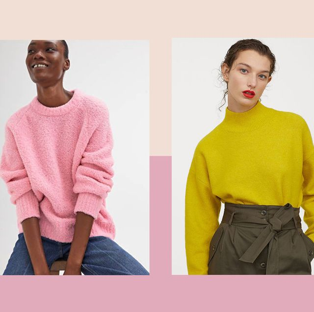 Clothing, Yellow, Fashion, Pink, Sweater, Orange, Neck, Outerwear, Shoulder, T-shirt,