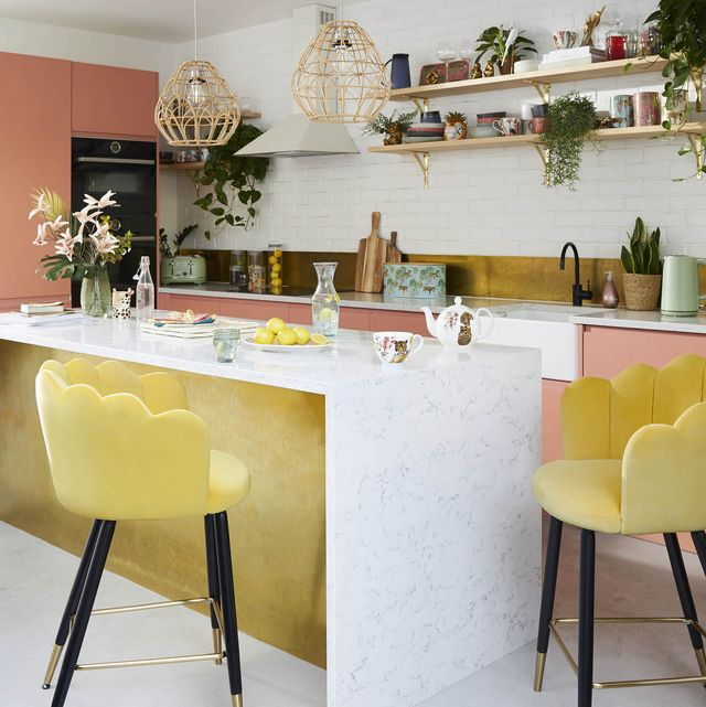colourful kitchen with yellow velvet bar stools, vivian bar stool old gold