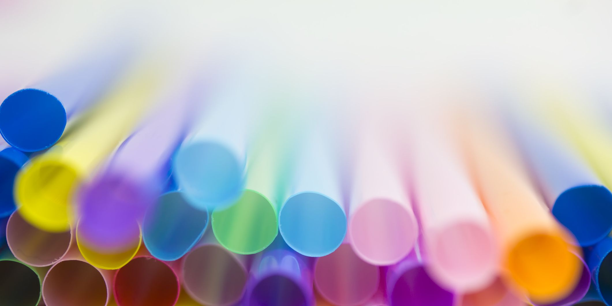 Colourful plastic drinking straws