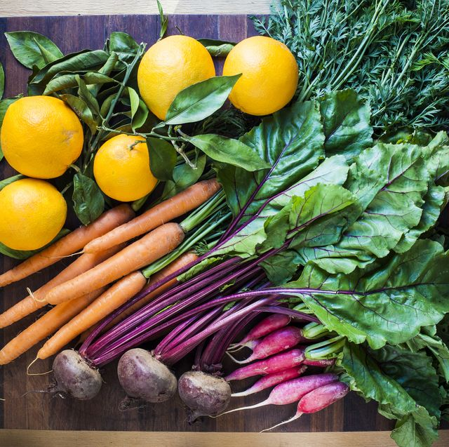 colourful root vegetables with oranges