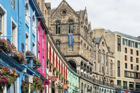 coloured houses at West Bow in Edinburgh