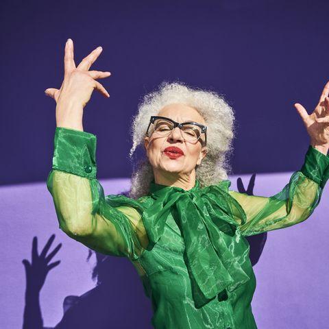 tiktok slang words colourful studio portrait of a senior woman