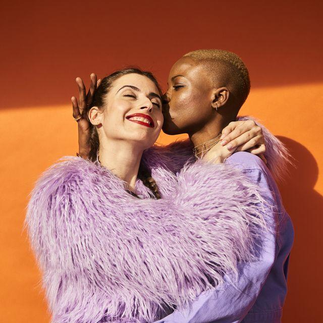 colourful studio portrait of two women