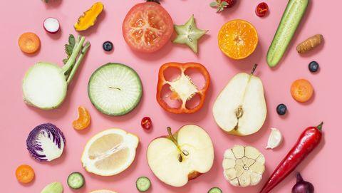 colourful vegan food conceptual still life