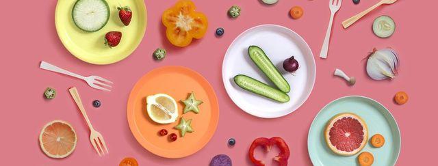 colourful vegan food eating conceptual still life