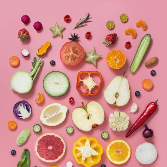 colourful vegetables and fruits text space still life