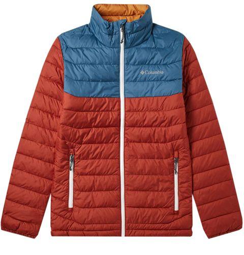 Clothing, Jacket, Outerwear, Orange, Sleeve, Hood, Puffer, Coat, Brand,