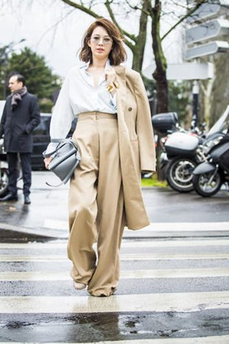 Clothing, Brown, Trousers, Coat, Outerwear, Style, Fender, Street fashion, Bag, Motorcycle,
