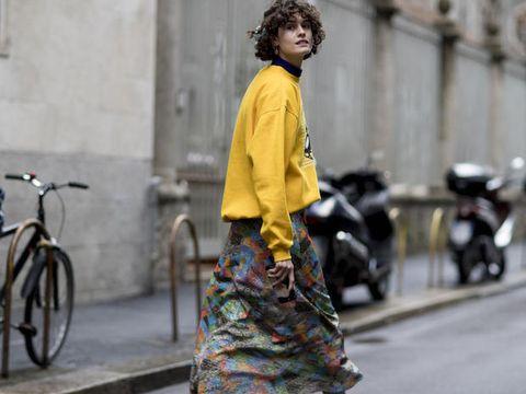 Street fashion, Yellow, Fashion, Snapshot, Outerwear, Street, Vehicle, Bicycle, Recreation, Photography,
