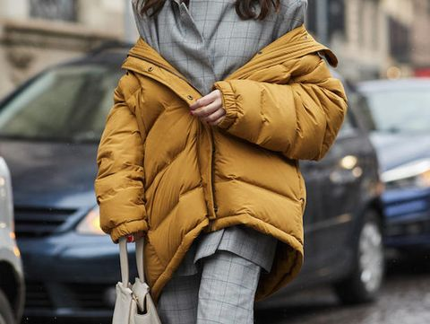 Clothing, Outerwear, Coat, Yellow, Street fashion, Hood, Fashion, Fur, Overcoat, Parka,