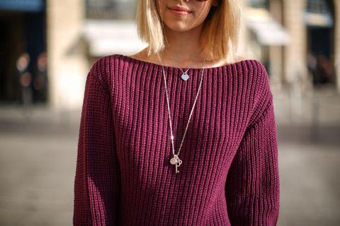 Clothing, Shoulder, Magenta, Violet, Pink, Purple, Street fashion, Fashion, Beauty, Neck,
