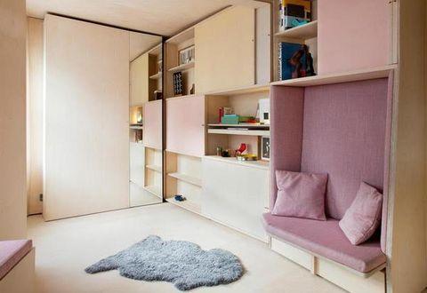 Furniture, Room, Shelf, Property, Interior design, Shelving, Bed, Wall, Bedroom, House,