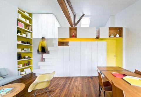 Wood, Yellow, Room, Interior design, Furniture, Table, Floor, Flooring, Wood flooring, Wood stain,