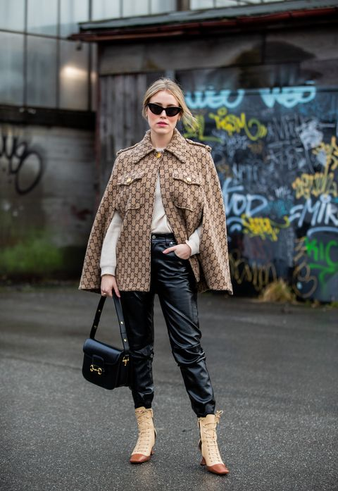 Clothing, Street fashion, Fashion, Jeans, Fur, Snapshot, Brown, Footwear, Outerwear, Trousers,