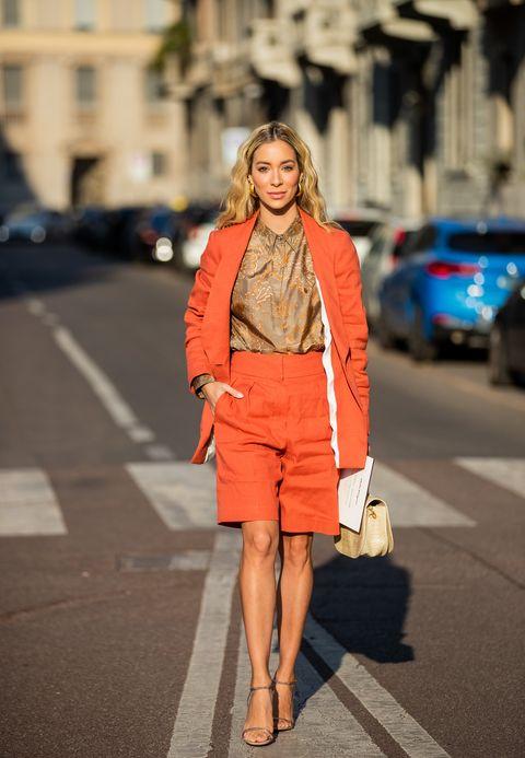 Clothing, Street fashion, Orange, Fashion, Snapshot, Outerwear, Fashion model, Coat, Shorts, Jacket,