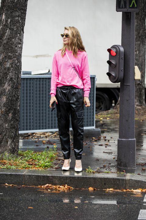 Pink, Photograph, Clothing, Street fashion, Standing, Fashion, Jeans, Snapshot, Footwear, Jacket,