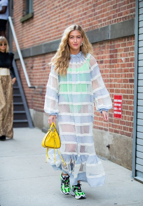 new york, new york   september 09 emili sindlev is seen wearing sheer dress outside zimmermann during new york fashion week september 2019 on september 09, 2019 in new york city photo by christian vieriggetty images