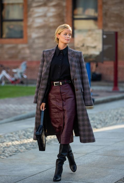 milan, italy   september 23  model frida aasen is seen wearing checkered coat, bordeaux skirt outside alberta ferretti during the milan womens fashion week on september 23, 2020 in milan, italy photo by christian vieriggetty images