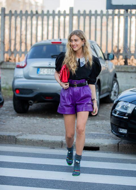 Street fashion, Clothing, Fashion, Vehicle, Car, Blond, Beauty, Human leg, Snapshot, Footwear,