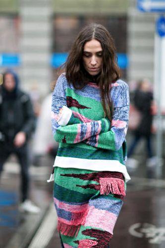 Green, Style, Street fashion, Fashion, Pattern, Fashion model, Brown hair, Fashion show, Camouflage, Long hair,