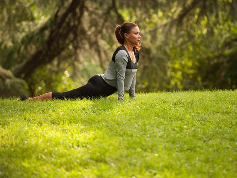Grass, People in nature, Knee, Active pants, Blond, Physical fitness, Lawn, Photo shoot, Boot,