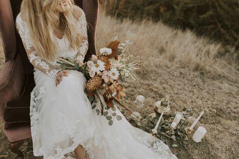 Photograph, White, Dress, Bride, Wedding dress, Gown, Flower, Bouquet, Bridal clothing, Marriage,