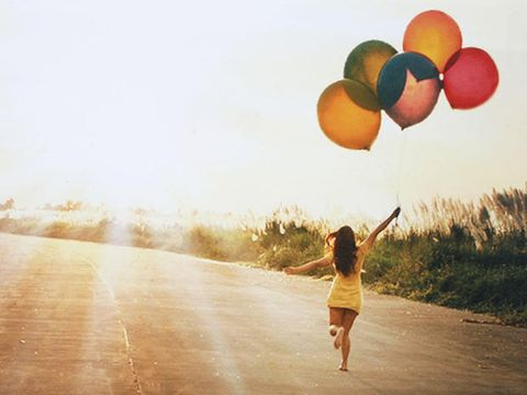 Balloon, People in nature, Sunlight, Party supply, Backlighting,