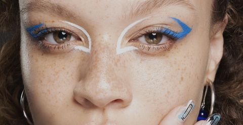 Eyebrow, Face, Blue, Eyelash, Eye, Skin, Nose, Close-up, Cheek, Head,