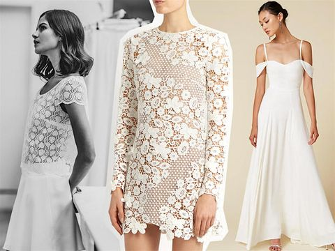 Clothing, Dress, White, Shoulder, Cocktail dress, Sleeve, A-line, Fashion, Lace, Gown,